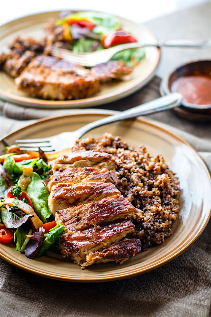 Quinoa and Cherry Glazed Pork Chops - perfect recovery meal