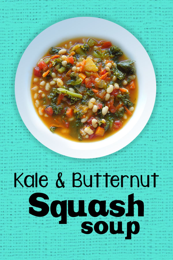 Kale and Butternut Squash Soup - Healthy dinner recipe, easy to add chicken sausage for non-vegans