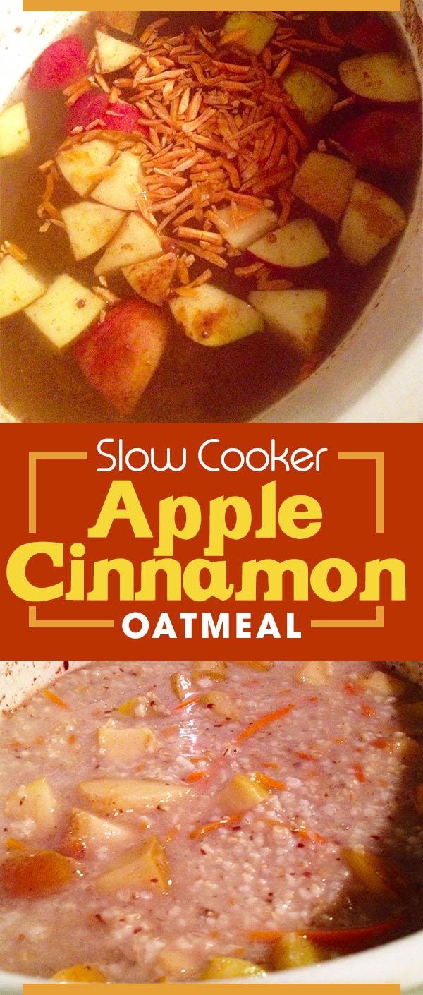 Slow cooker apple cinnamon oatmeal, - great overnight idea for a healthy warm breakfast