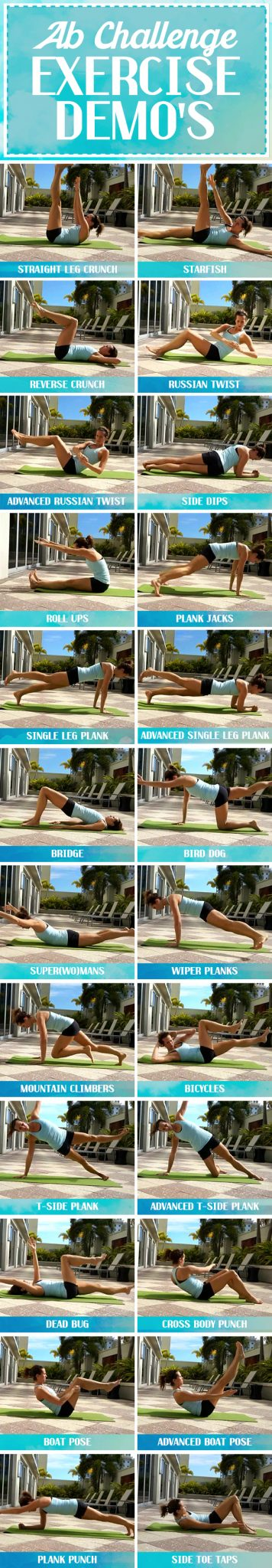 30 day ab challenge exercises demonstrated - click for mote details on nutrition tips and more!
