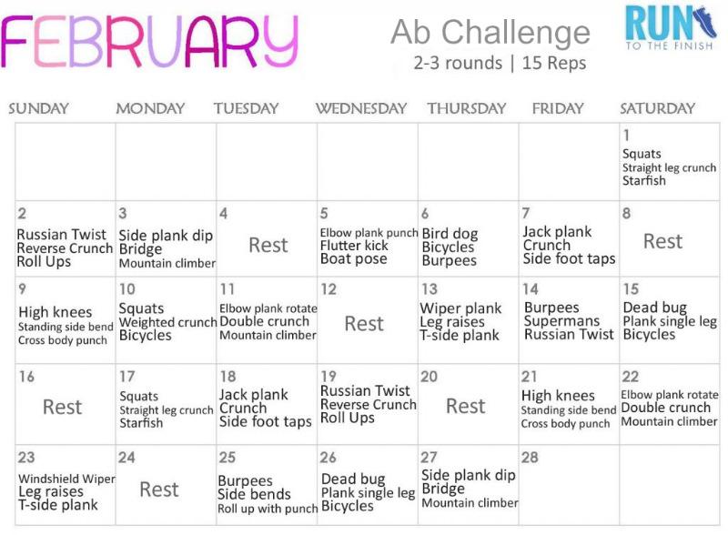 ab challenge calendar runtothefinish