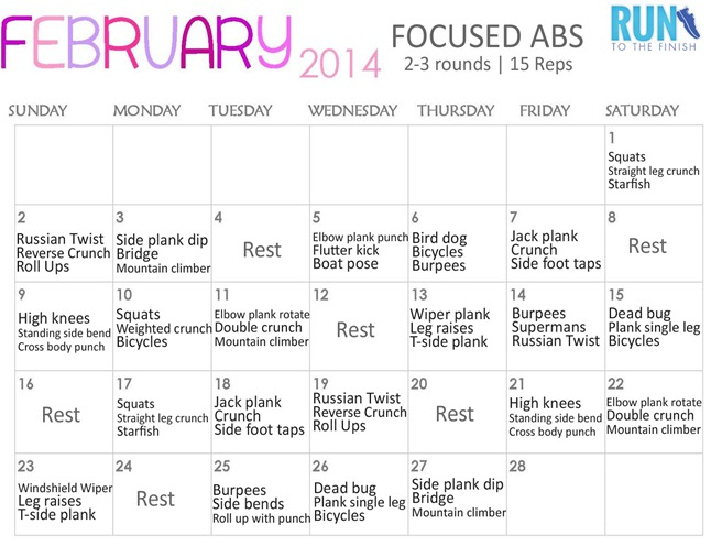 Workout Calendar For Abs : February ab challenge runtothefinish