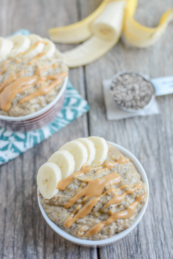 PB Banana Chia Pudding - a low sugar healthy dessert - click for more tips