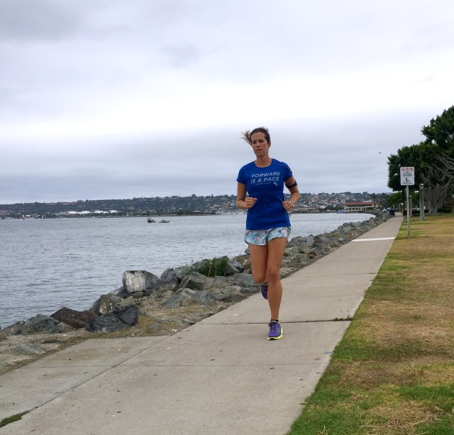 Running along Harbor Island in San Diego