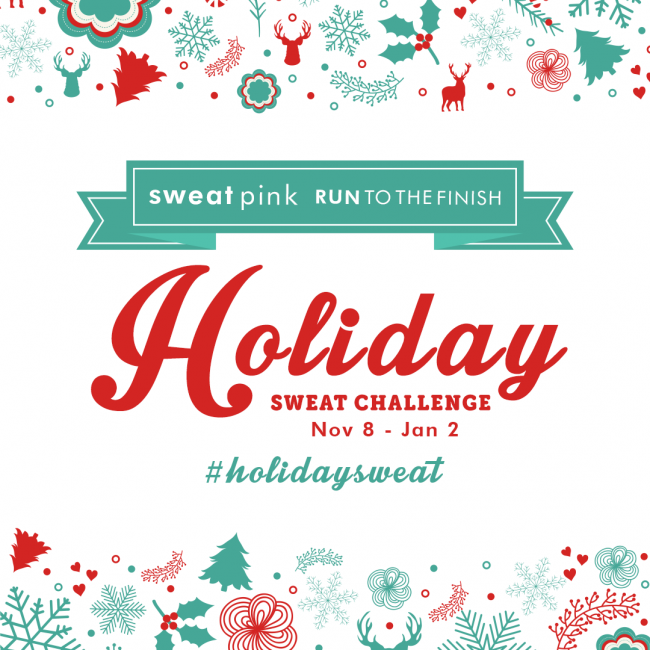 Once you've signed up, pick out any of the logos and post it in your sidebar or in a post announcing your participation. Because it's proven that the bigger your support circle the more successful you'll be and hey if your friends are on the #HolidaySweat train maybe they won't send you cookies for a gift!