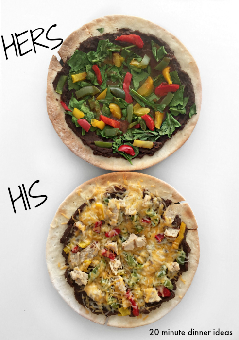 20 minute pizza you can make at home to satisfy everyone in the house with various toppings and gluten free crust (vegan and meat lover options)