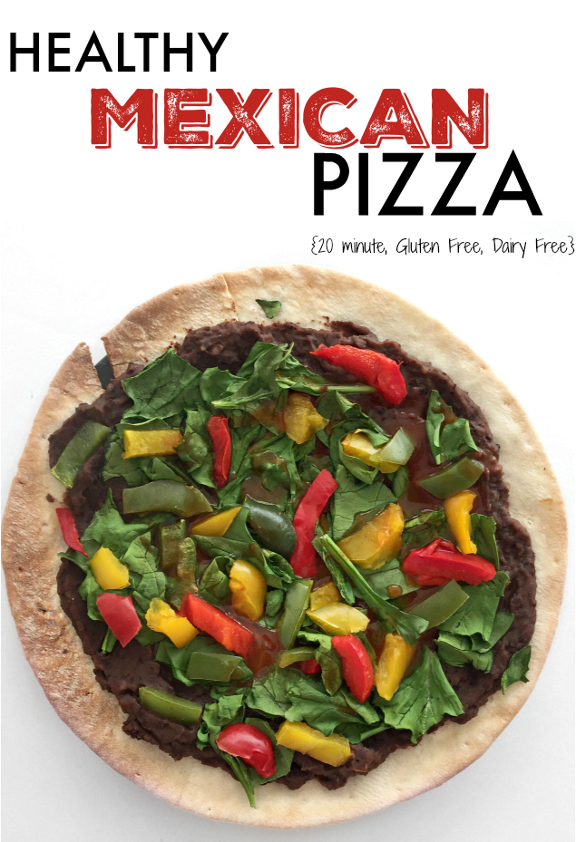 20 Minute Healthy Mexican Pizza Recipe - great gluten free weeknight dinner with a Vegan version and cheesy version (we call it hers and his)