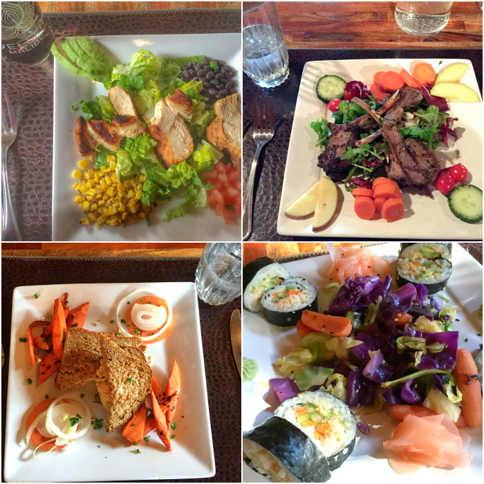 Meal samples from a wellness retreat