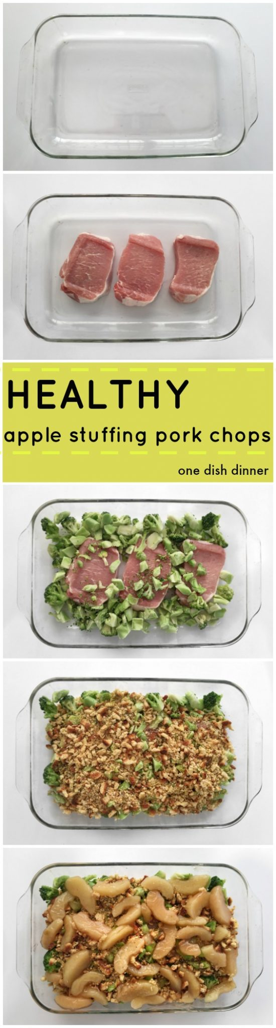 Easy One Dish Pork Chop Dinner - A Fast healthy dinner - pork chops with apple stuffin