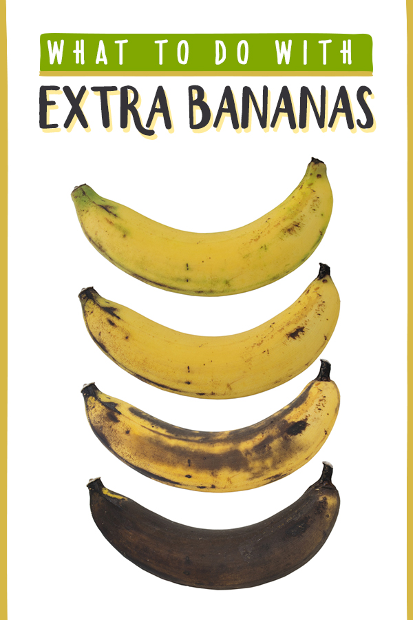 Tons of recipes and quick tips for what to do when you've got too many bananas, bananas going bad and need to find ways to use them