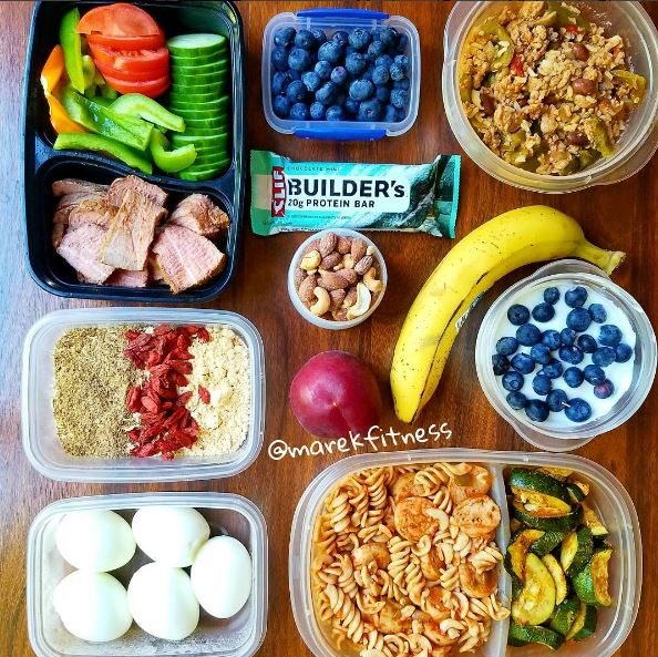 Example meal plan for a single day with 6 meals filled with protein
