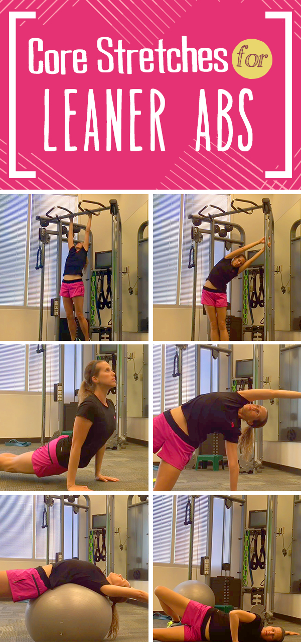 Core Stretches for Flatter Abs - part of a free 30 day ab challenge, click for details
