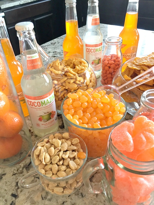 Orange themed party idea - food ideas to go with candy