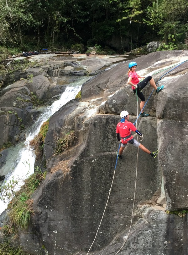 Learning to rappel on Costa Rica Adventure Vacation