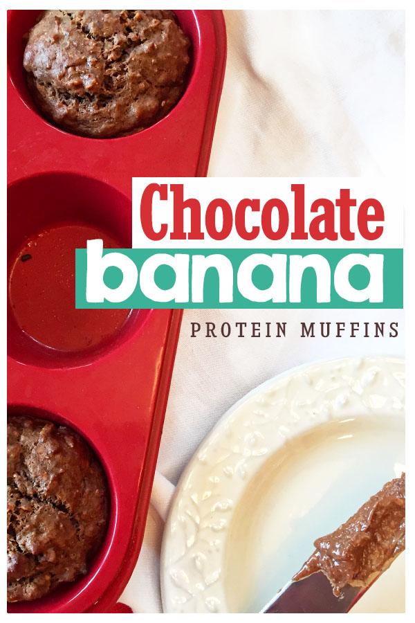 Healhty Hazelnut Chocolate Banana Protein Muffins recipe - dairy free, gluten free