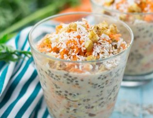 Dairy Free High Protein Breakfast Ideas -Carrot Cake Overnight Oats