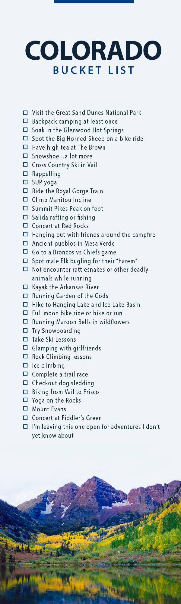 Colorado Bucket List: Must Do and See - A bucket list of adventurous ideas