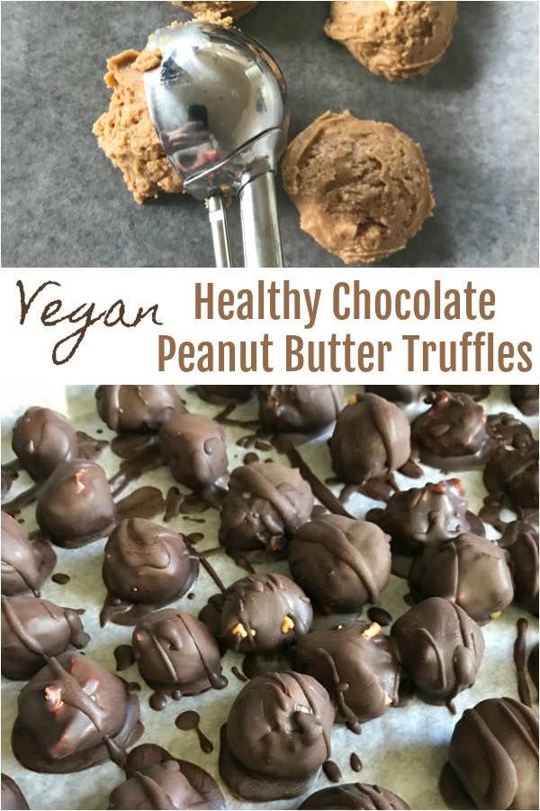 Healthy Chocolate Peanut Butter Truffles - Dairy free, vegan dessert - a healthier 5 ingredient option to repalce Reese's